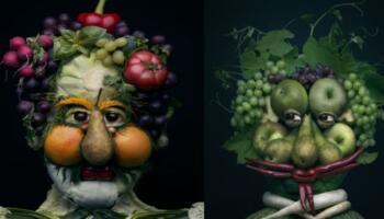 Майстриня з Польщі створює з овочів та фруктів людські обличчя