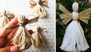 Робимо різдвяних ангелів із ниток та мотузки